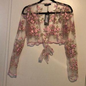 Nasty gal tie front floral crop top